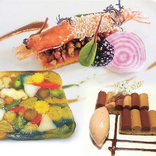 上:天使の海老のフリット納豆のポワレ、左:野菜のテリーヌ、右:ガトーオペラ